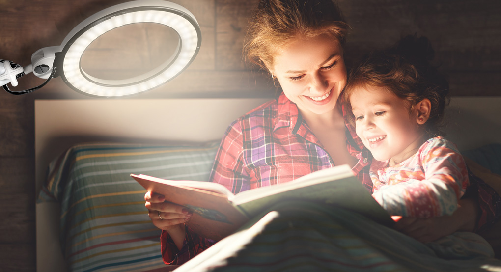 bedtime reading with kids light